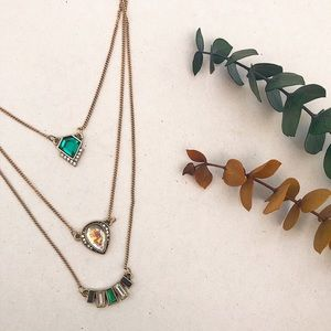 Triple Emerald Green Necklace